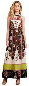 Brown Maxi Dress by Anthropologie Unique Pattern Rich Lined Elastic Waist Embroidered Flowers