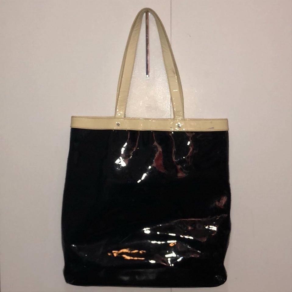 308afc83ca77 Tory Burch Perforated Logo Black White Black Patent Leather Tote - Tradesy