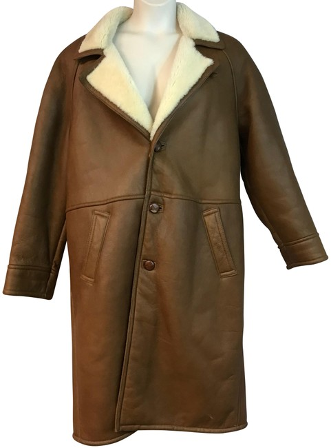 Item - Brown L Shearling Lined Real Leather Coat Size 12 (L)