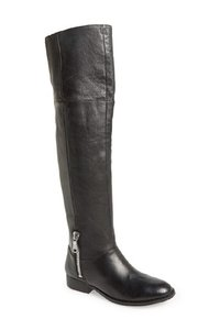 Chinese Laundry Leather Over The Knee Zipper Black Boots