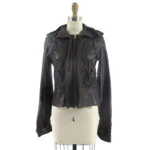 Mike & Chris Ruched Lambskin Leather Jacket