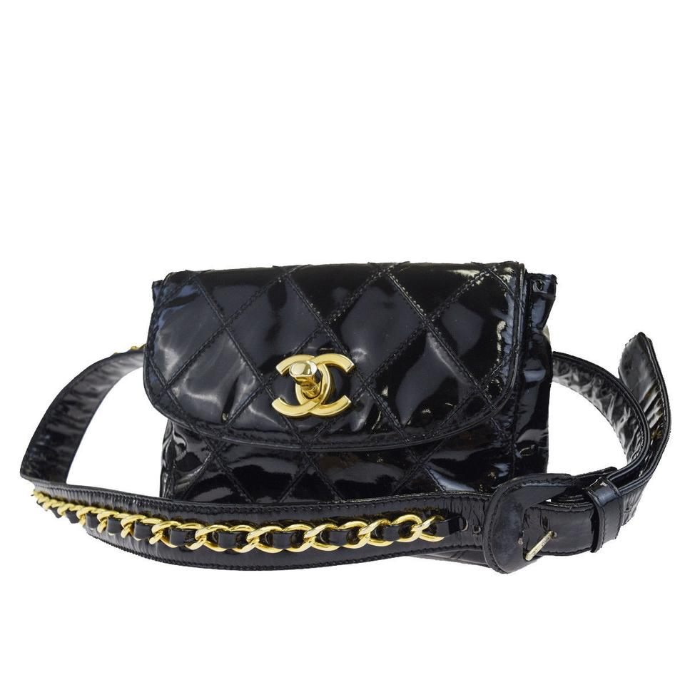 12324ee9d541 Chanel Bag Rare Mini Quilted Bum Waist Fanny Pack Black Patent Leather  Clutch