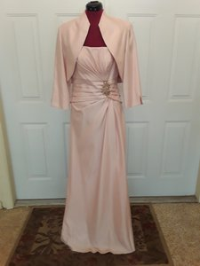 eeebb08be42 Jessica Howard Pink Polyester  Faux Raw Silk Gown with Jacket Formal  Bridesmaid Mob Dress