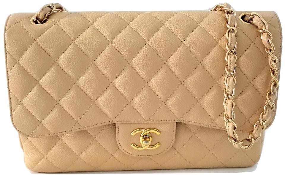 6e8503edd155 Chanel 2.55 Reissue Double Flap Jumbo Large Caviar Quilted Beige Cowhide  Leather Shoulder Bag