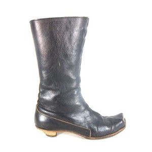 CYDWOQ Victorian Leather Buttons Brown Boots