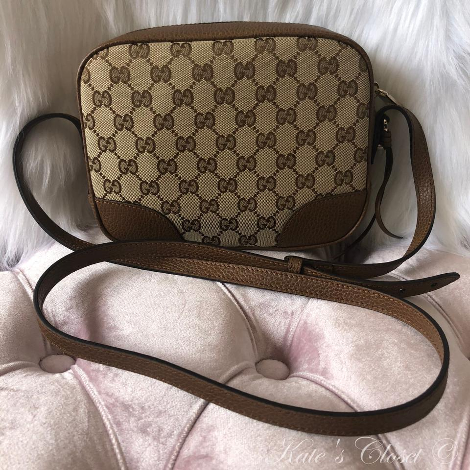 63a9be668637 Gucci Gg Dollar Calf 449413 Beige Ebo/Tabacco Canvas and Leather ...