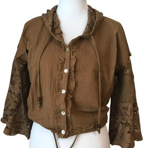 Anama Lace Top Hooded Brown Wheat Jacket