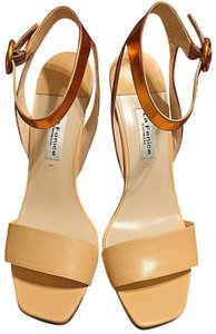 La Fenice Wedge Ankle Straps Orange Sandals