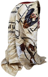 Burberry Tan multicolor Burberry London dog print silk scarf