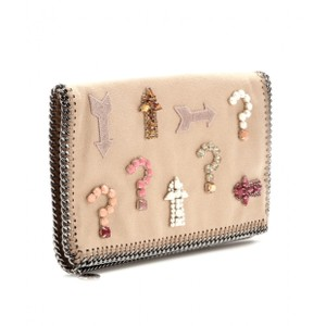 Stella McCartney Vegan Leather Embellished Chain Beige pink Clutch