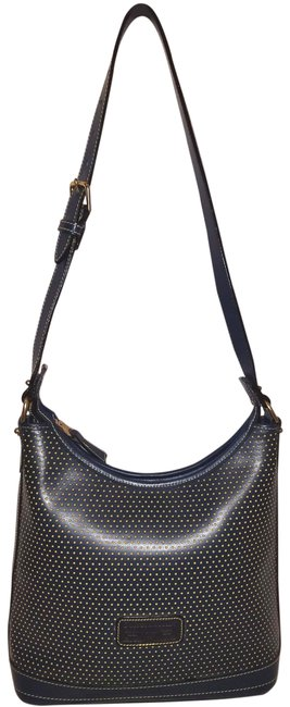 Item - And Yellow Perforated Handbag with A Zipper Clos Blue Leather Shoulder Bag
