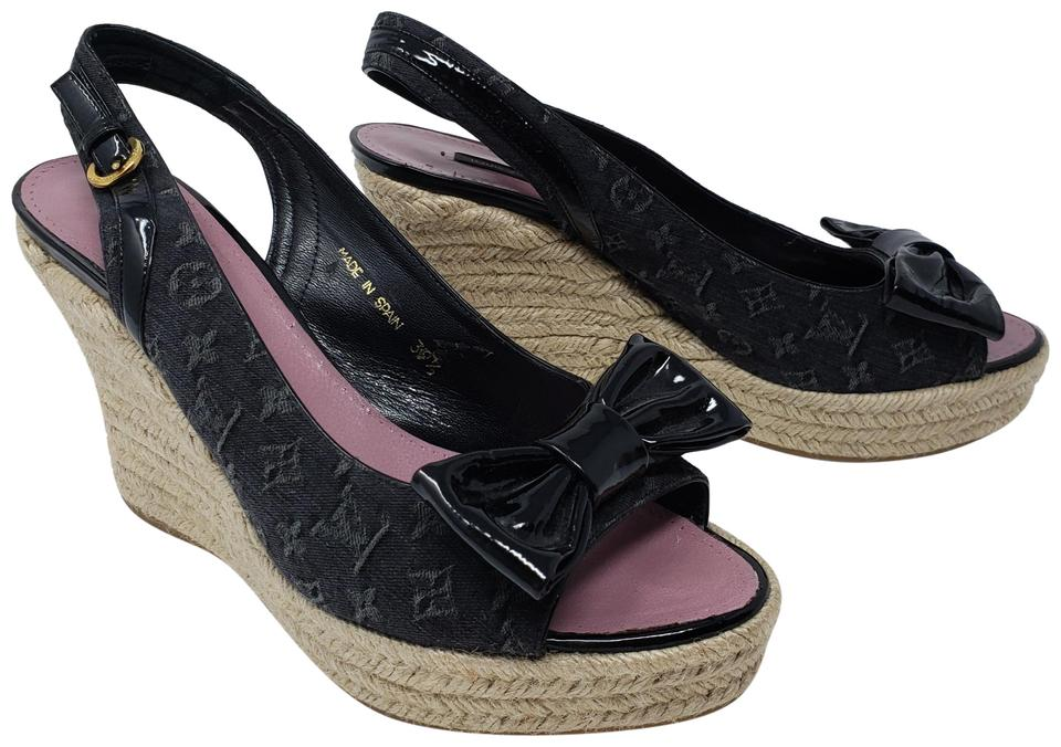 3bfac43376b5 Louis Vuitton Black Lv Monogram Denim Peep-toe Espadrille Wedges ...
