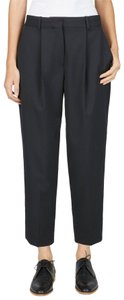 Everlane Relaxed Fit Wide Leg Pleated Luxurious Cotton Fitted Waist Trouser Pants Black