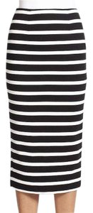 NICHOLAS Pencil New With Tags Stretchy Slit Skirt Black and White Stripe
