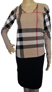 Burberry Nova Check Plaid Monogram Exploded Check Longsleeve Top Multicolor