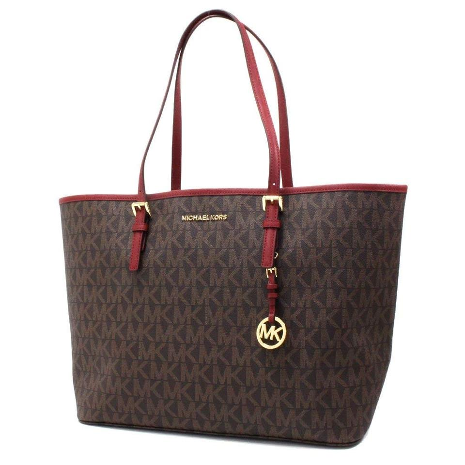 cd69481da2a3e Michael Kors New Large Monogram Carryall Purse Brown Logo Red Burgundy  Coated Twill Saffiano Leather Tote