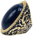 Eve St. Claire 14k gold plated filigree blue ring 9 + size