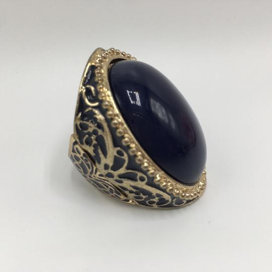 Eve St. Claire 14k gold plated filigree blue ring 9 + size Image 10