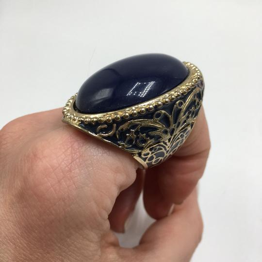 Eve St. Claire 14k gold plated filigree blue ring 9 + size Image 2