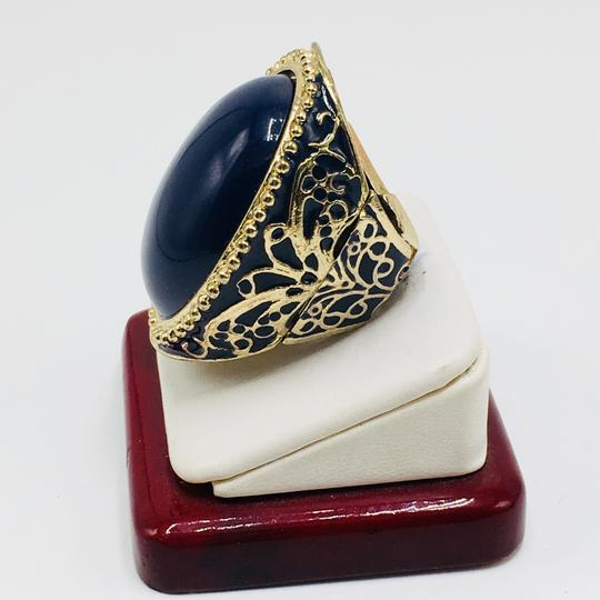 Eve St. Claire 14k gold plated filigree blue ring 9 + size Image 3