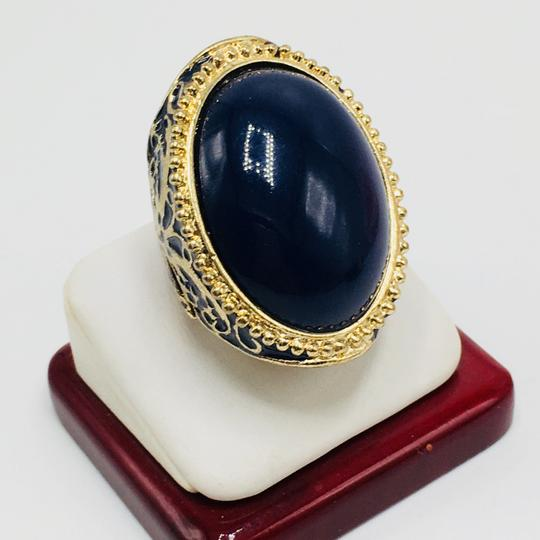 Eve St. Claire 14k gold plated filigree blue ring 9 + size Image 4