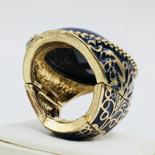 Eve St. Claire 14k gold plated filigree blue ring 9 + size Image 5
