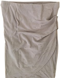 James Perse Knit Wrap Faux Wrap Stretch Skirt Taupe