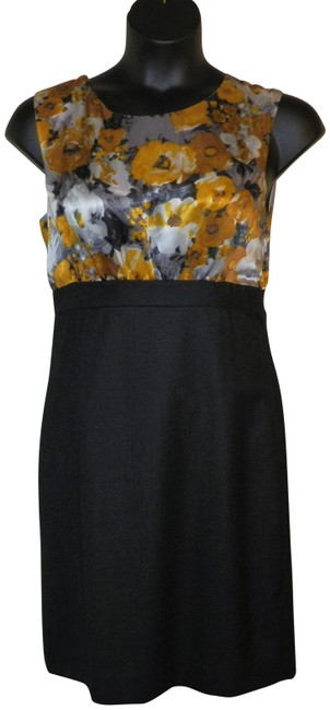 Item - Gray Gold White & Silver Silk/Wool Sleeveless Mid-length Night Out Dress Size 10 (M)