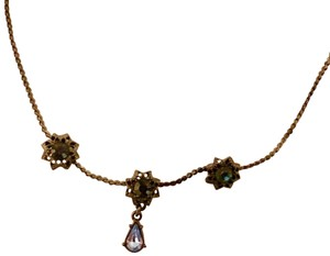 1928 Blue stoned short 1928 necklace, dark blue chain with lighter blue sto