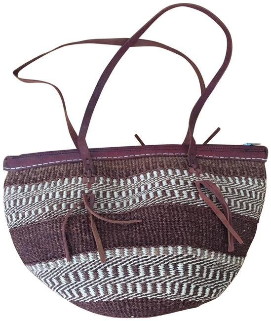 Item - Vintage and Woven Brown Tan Ivory Black Straw Leather Tote