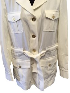 St. John BRIGHT WHITE St. John Collared 4 Flap patch Pockets w/ attached Belt