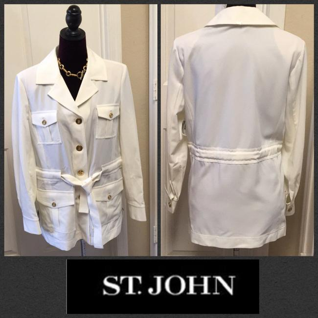 St. John BRIGHT WHITE St. John Collared 4 Flap patch Pockets w/ attached Belt Image 1