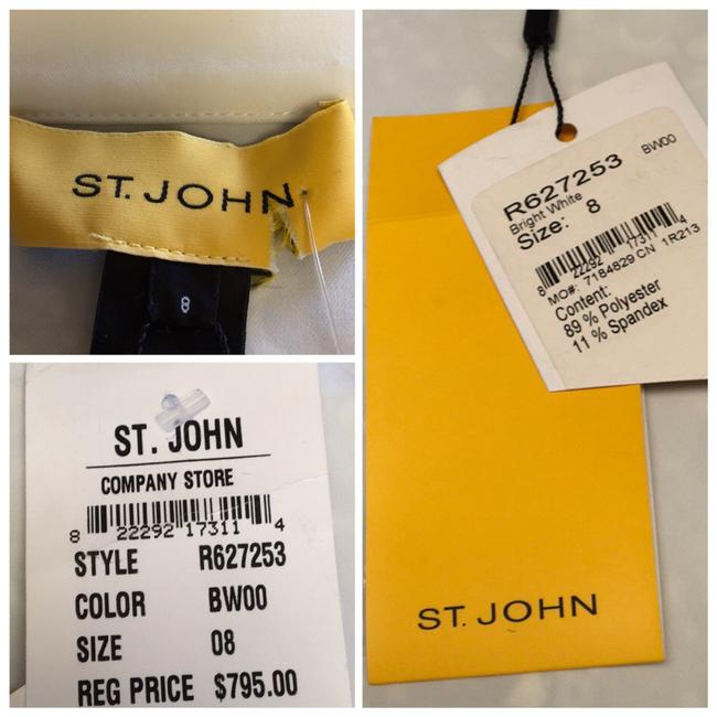 St. John BRIGHT WHITE St. John Collared 4 Flap patch Pockets w/ attached Belt Image 2
