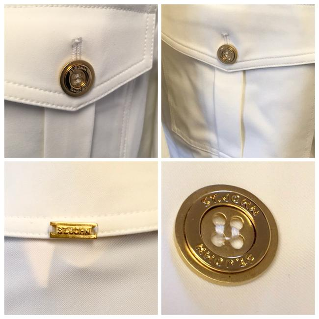 St. John BRIGHT WHITE St. John Collared 4 Flap patch Pockets w/ attached Belt Image 3