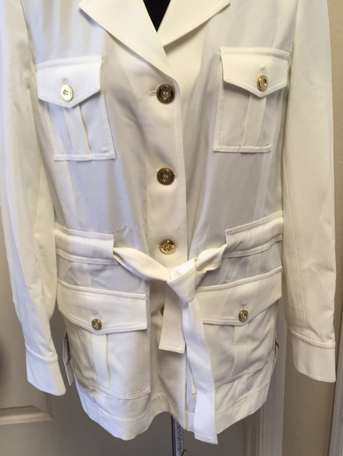 St. John BRIGHT WHITE St. John Collared 4 Flap patch Pockets w/ attached Belt Image 5