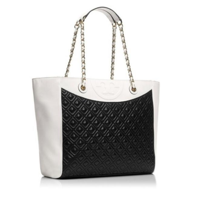 Item - East West Fleming Color Black and White Lambskin Leather Tote