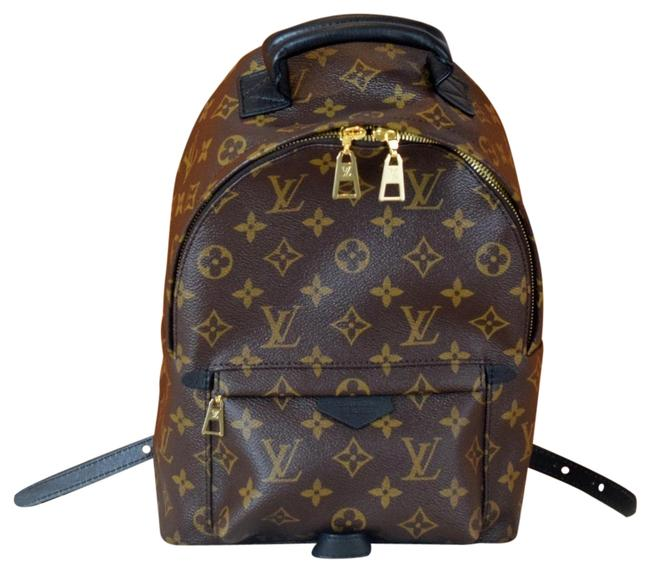 Item - Palm Springs Pm Monogram Coated Canvas - Brown and Black Leather Backpack