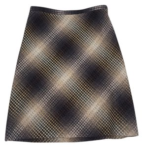 Bcbg Plaid Skirt Brown, Tan, Gray