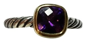 David Yurman David Yurman Sterling Silver 18K Gold Stackable Ring with Amethyst