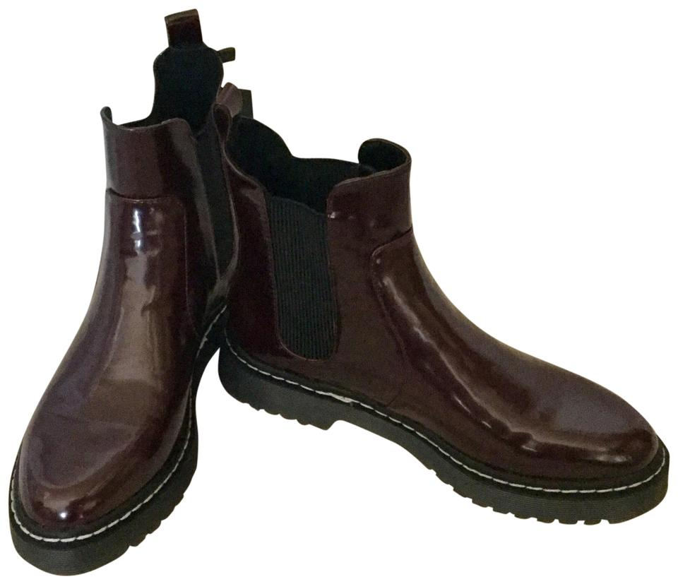 fed597490b37 Zara Burgundy Woman Patent Gum Sole Ankle Boots Booties Size US 7 ...