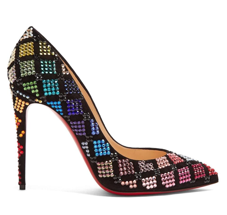 510af3a687d Christian Louboutin Black Arletta 100 Suede Red Blue Strass Crystal Pigalle  Stiletto Heel Pumps Size EU 36 (Approx. US 6) Regular (M, B)