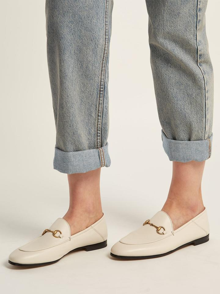 ae29a02beec Gucci White Horsebit Brixton Leather Loafers 41 Flats Size US 12 ...