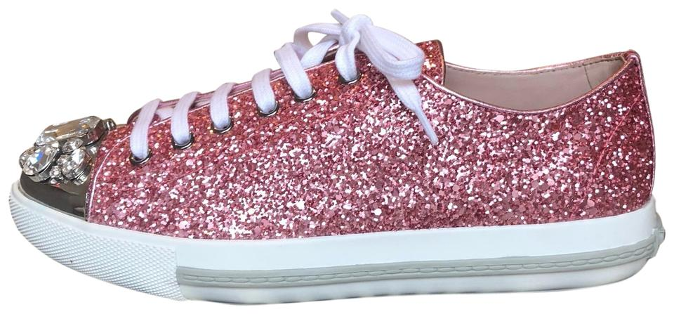 64cee6301be4 Miu Miu Pink Crystal-embellished Glittered Leather Sneakers Flats ...