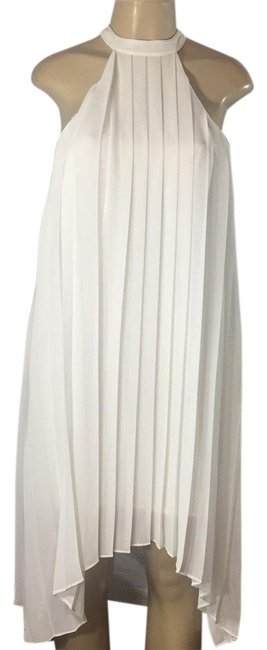 Item - White Pleated Mid-length Cocktail Dress Size 4 (S)