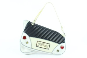 Christian Dior Saddle Car License Plate Runway Satchel in White