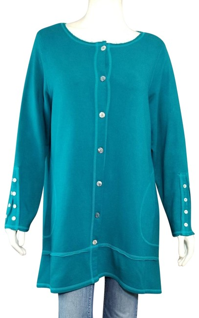 Color Me Cotton CLICK Teal Green Boho Button-up French Terry Stretch Coat Size 14 (L) Color Me Cotton CLICK Teal Green Boho Button-up French Terry Stretch Coat Size 14 (L) Image 1