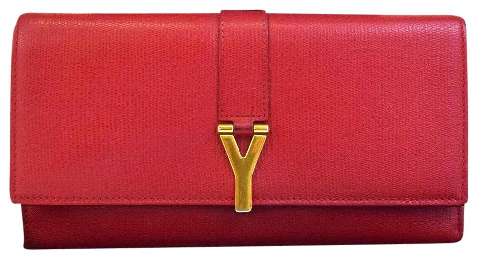 1b657b89ddb Saint Laurent SAINT LAURENT YSL Long Bifold Wallet Purse Leather Red Italy  Image 0 ...