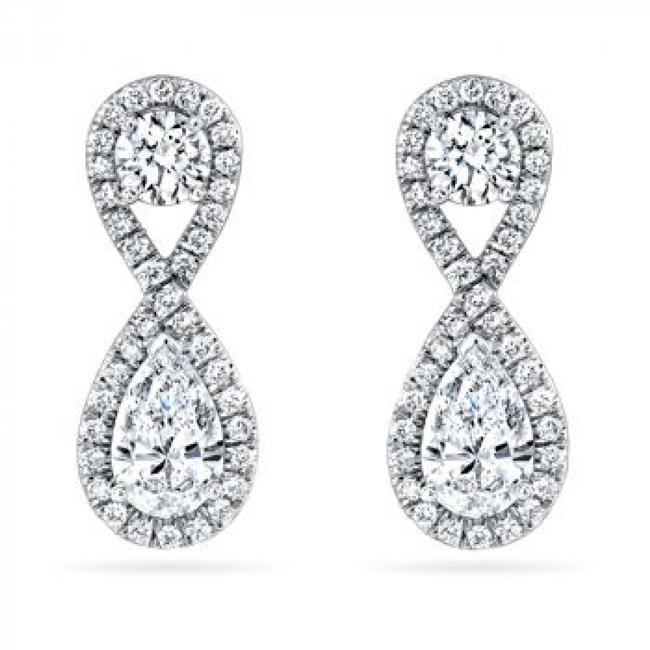Item - White 3.50 Ct Ladies Round Cut Diamond Drop Earrings
