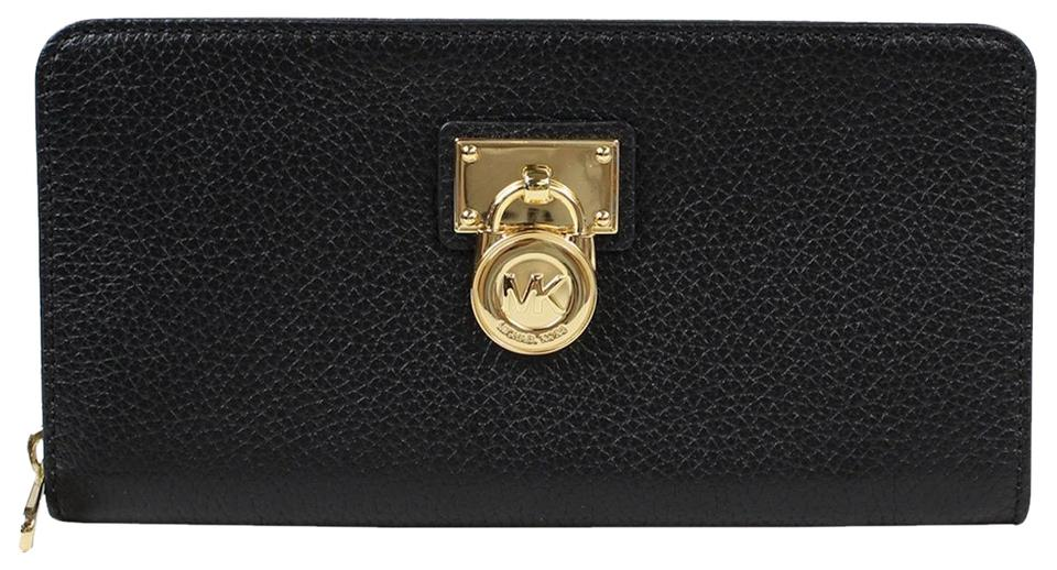 6138ad1455293d Michael Kors Hamilton Traveler Collection Large Zip Around Leather Wallet  Clutch Image 0 ...