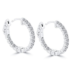 Madina Jewelry White 1.25 Ct Ladies Round Cut Diamond Hoop Huggie Earrings